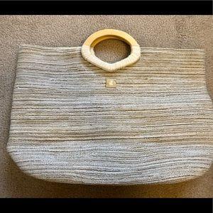 Sisley Beach Tote wood handle